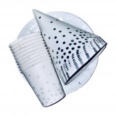 Набор одноразовой посуды Белый в серебряный горошек  3х10 шт