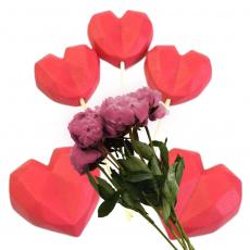 Набор сахарных топперов Сердечки оригами красные 5 шт