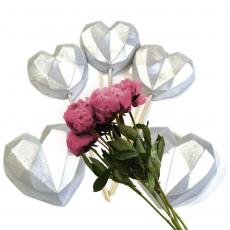 Набор сахарных топперов Сердечки оригами серебро 5 шт