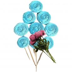 Набор сахарных топперов Спиралька голубая 9 шт