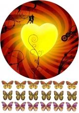 Вафельная картинка A4 Огненное сердце
