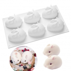 Силиконовая форма для евро-десертов Кролики 29,4х17 см