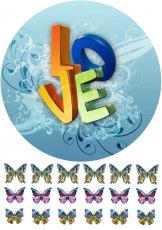Вафельная картинка A4 Love 5