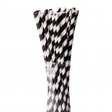 Бумажные трубочки Черные полоски 25 шт