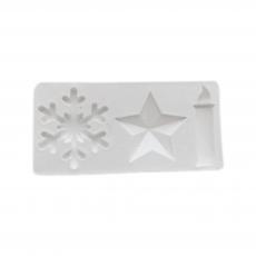 Силиконовый молд Снежинка, звезда, свеча 9x4,5 см