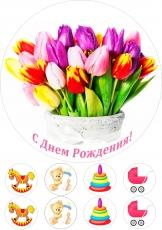 Вафельная картинка A4 Цветы 12