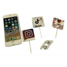 Набор сахарных топперов Телефон и наушники