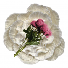 Сахарный цветок Пион большой белый 10 см