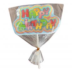Сахарный топпер на палочке Happy Birthday №3 1 шт