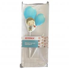 Сахарный топпер Мальчик с голубыми шариками 1 шт