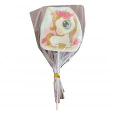 Сахарный топпер Единорог с цветочками 1 шт