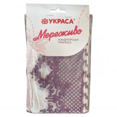 Съедобное сахарное кружево фиолетовое Узор №495 34х11 см 3 шт