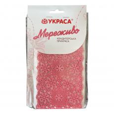 Съедобное сахарное кружево розовое Узор №390 36х9.5 см 3 шт