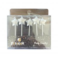 Набор свечей на торт Элитные звёзды серебро 5 шт