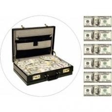 Вафельная картинка A4 Чемодан с долларами США