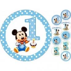 Вафельная картинка A4 1 Годик с Микки Маус